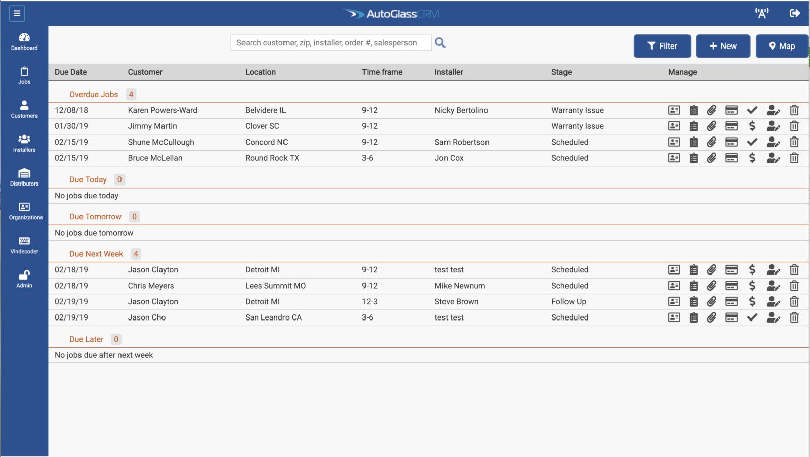 AutoGlassCRM Jobs Page Screenshot